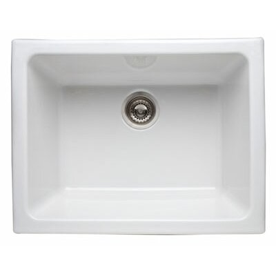 Single Bowl Undermount Fireclay Kitchen Sink Finish: White