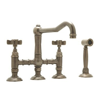 Country Kitchen Two Handle Widespread Bridge Faucet with Cross Handles Side Spray Finish: Inca Brass, Handle Option: Porcelain Lever