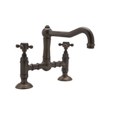 Country Kitchen Deck Mount Two Handle Widespread Bridge Faucet Finish: Satin Nickel