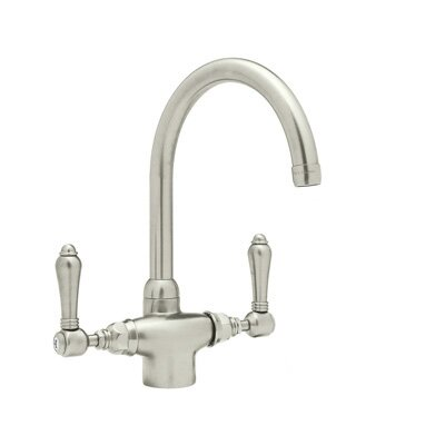 Country Kitchen Two Handle Single Hole Kitchen Faucet with Metal Levers Side Spray Finish: Satin Nickel