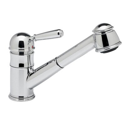Pullout One Handle Single Hole Kitchen Faucet with Short Hand Spray Double Check Valve Finish: Satin Nickel