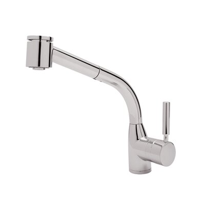 Pullout Modern Lux One Handle Single Hole Side Kitchen Faucet with Lever Handle Finish: Polished Chrome