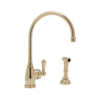 Perrin and Rowe One Handle Single Hole Kitchen Faucet with Side Spray Rinse with High C Spout