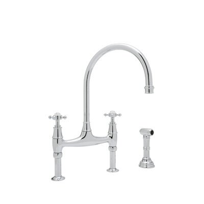 Perrin and Rowe Deck Mount Two Handle Widespread Kitchen Faucet with High C Spout Finish: Polished Chrome
