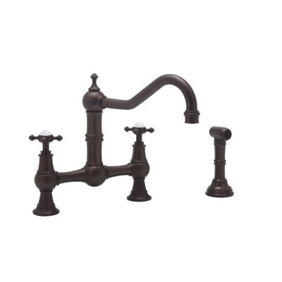 Perrin and Rowe Two Handle Widespread Kitchen Faucet with Cross Handles and Hand Spray Finish: English Bronze
