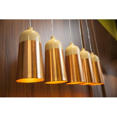 Glaze 1-Light Mini Pendant Size: 11.8 H x 5.5 W x 5.5 D, Color: Cream / Copper