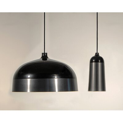 Glaze 1-Light Mini Pendant Size: 13.4 H x 20 W x 20, Color: Black / Charcoal