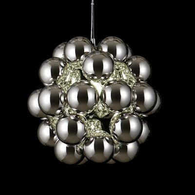 Beads Penta 1-Light Globe Pendant Finish: Chrome