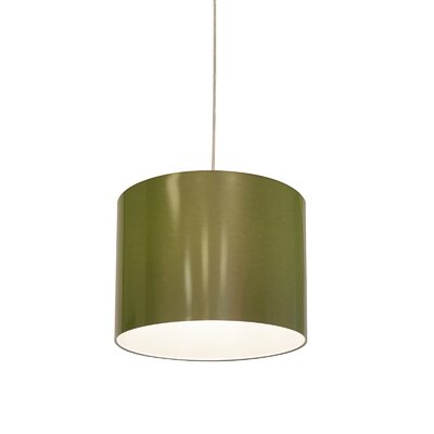 Metallic Vinyl Drum Pendant Shade Size: 10 H x 13 W x 13 D, Color: Green