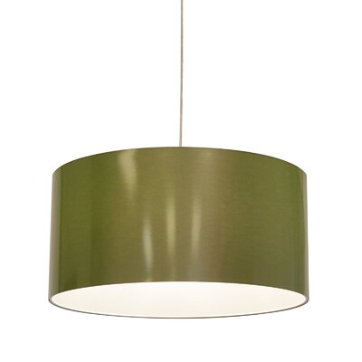 Metallic Vinyl Drum Pendant Shade Size: 12 H x 23.6 W x 23.6 D, Color: Green