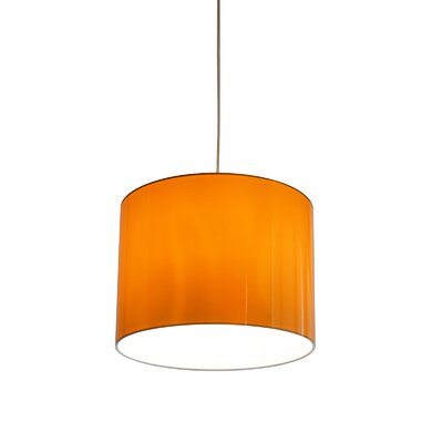 Metallic Vinyl Drum Pendant Shade Size: 10 H x 13 W x 13 D, Color: Orange