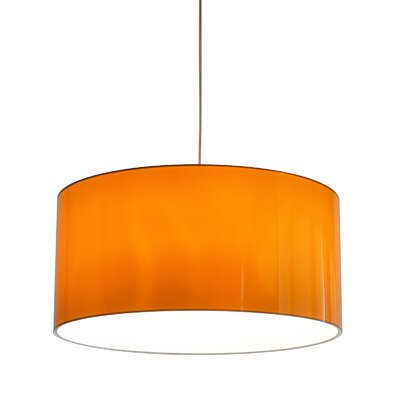 Metallic Vinyl Drum Pendant Shade Size: 12 H x 23.6 W x 23.6 D, Color: Orange