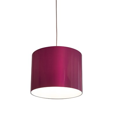 Metallic Vinyl Drum Pendant Shade Size: 10 H x 13 W x 13 D, Color: Pink