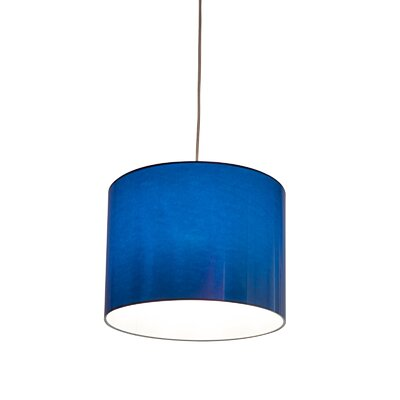 Metallic Vinyl Drum Pendant Shade Size: 10 H x 13 W x 13 D, Color: Blue