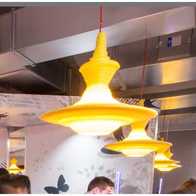 Stupa 1-Light Schoolhouse Pendant Color: Yellow