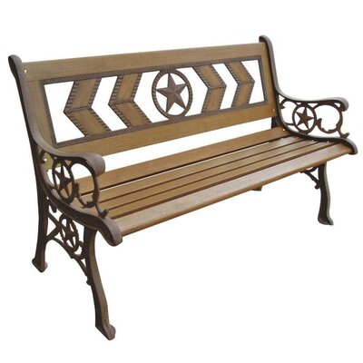 Oakland Living Triple Cross Wood and Metal Park Bench | Wayfair