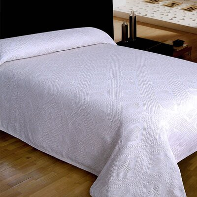 Jacquard Bedspread Color: White, Size: King