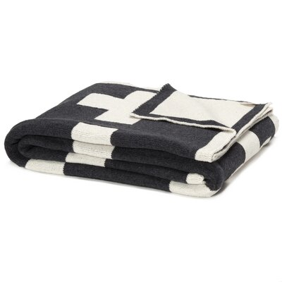 Reversible Swiss Cross Split Throw Blanket Color: Smoke