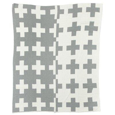 Reversible Swiss Cross Split Throw Blanket Color: Aluminum