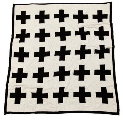 Reversible Swiss Cross Split Throw Blanket Color: Black