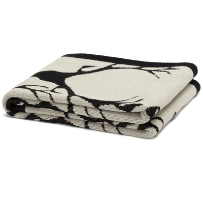 Eco Designer Stag Longhorn Throw Blanket Color: Flax/Black/Milk