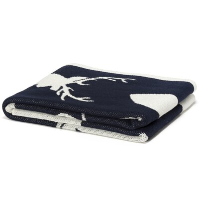 Eco Designer Stag Silhouette Throw Blanket Color: Marine / Milk