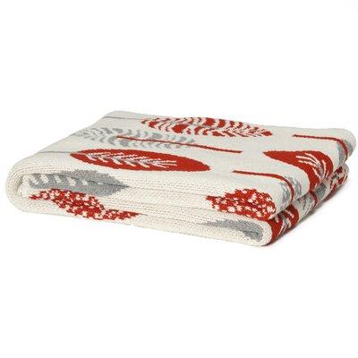 Eco Designer Mod Leaf Cotton Throw Blanket Color: Spice / Aluminum