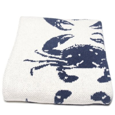 Cantrell Crab Cotton Throw Blanket Color: Slate