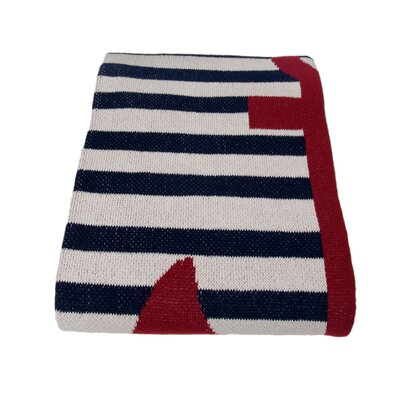 Cantrell French Stripe Cotton Yarn Throw Color: Marine