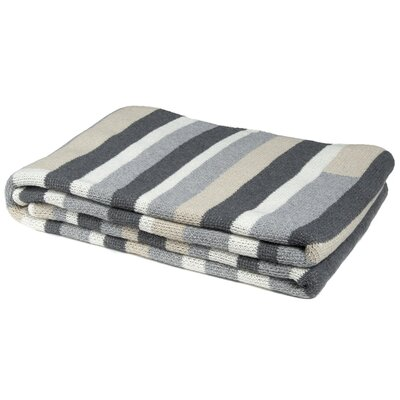 Block Stripe Throw Blanket Color: Flax/Smoke/Aluminum