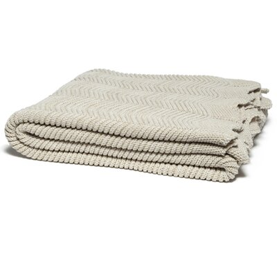 Pointelle with Scalloped Edge Throw Blanket Color: Edge Flax