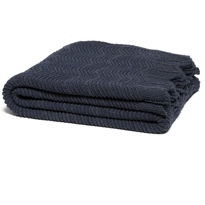 Pointelle with Scalloped Edge Throw Blanket Color: Marine/Smoke