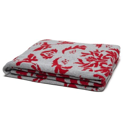 Reversible Dragon Throw Blanket Color: Cherry/Aluminum