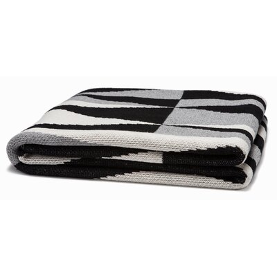 Right Angles Throw Blanket Color: Black/Aluminum