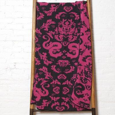 Reversible Dragon Throw Blanket Color: Fuchsia/Smoke