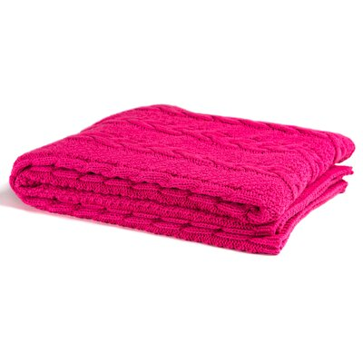 Chunky Cable Throw Blanket Color: Fuchsia