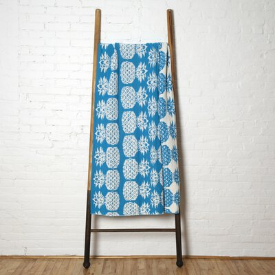 Reversible Petite Pineapple Throw Blanket Color: Turquoise/Milk