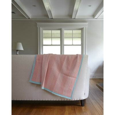 Woven Square Throw Blanket Color: Coral/Milk/Seafoam