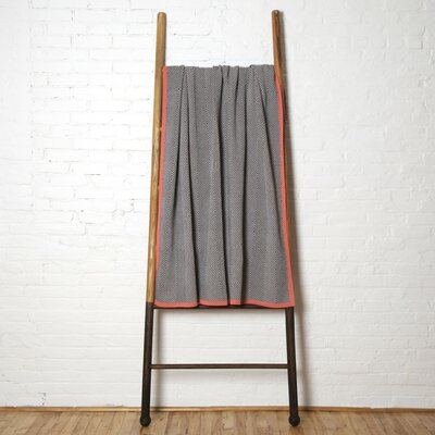 Woven Square Throw Blanket Color: Aluminum/Smoke/Coral