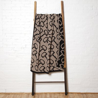 Reversible Bits Throw Blanket Color: Hemp/Black