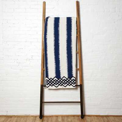 Wenzel Feathered Stripe Throw Blanket Color: Cobalt/Marine