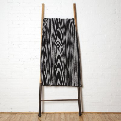 Gabor Woodgrain Cotton Throw Blanket Color: Black-Aluminum