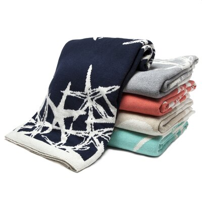 Reversible Tumbling Starfish Throw Blanket Color: Flax/Milk