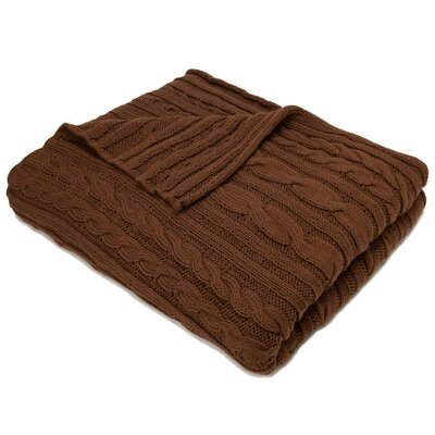 Fisherman Cable Cotton Throw Blanket Color: Chocolate