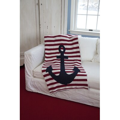 Cantrell French Stripe Cotton Yarn Throw Color: Pomegranate