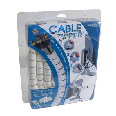 Image of Evriholder Medium Clam Cable Zipper / Cord Organizer in White (QTY1105)