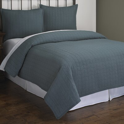 Ashton Herringbone Quilt Set Size: King, Color: Teal