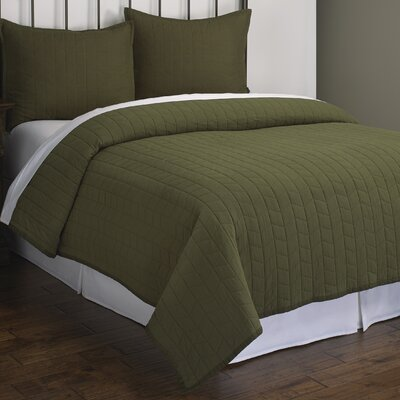 Ashton Herringbone Quilt Set Size: King, Color: Green