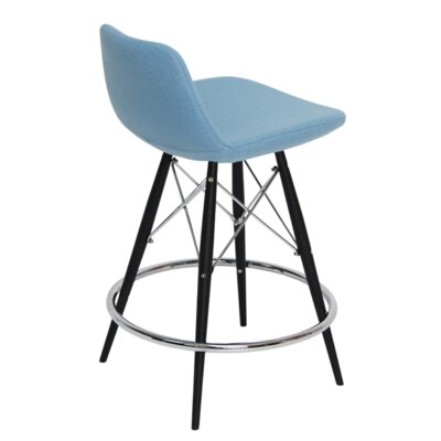 Pera 29 Bar Stool Base Finish: Black/Chrome, Upholstery: Sky Blue