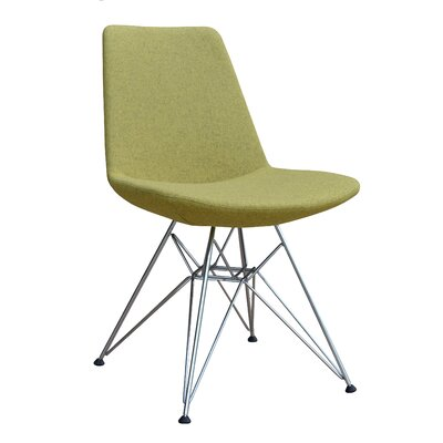 Eiffel Tower Genuine Leather Upholstered Dining Chair Frame Color: Chrome, Upholstery Color: Light Green